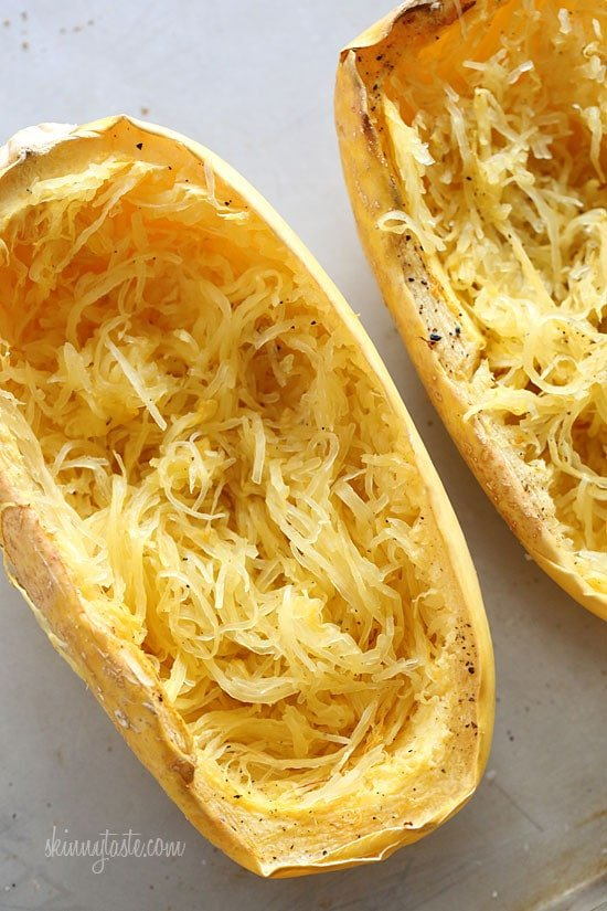 Cheesy Baked Spaghetti Squash Boats with Grilled Chicken Skinnytaste