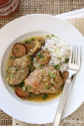 A chicken and sausage stew made with skinless chicken legs and spicy andouille sausage simmered with flavors from the deep south – without the extra fat.