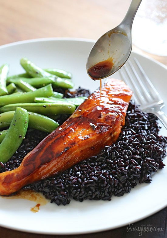 Honey-Teriyaki Salmon with an Asian honey glaze is such and easy, flavorful dish you can make any night of the week. Simply fill a resealable bag with the marinade ingredients, add the salmon and marinate until you're ready to cook. Then when you're ready to start dinner, make your sides and your fish will be done in less than 15 minutes.