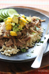 Slow Cooker Jerk Pork with Caribbean Salsa is a delicious pork roast, marinated overnight with fresh citrus juice, garlic, and jerk seasoning. Topped with a bright Caribbean salsa of fresh mangoes, avocado and cilantro.