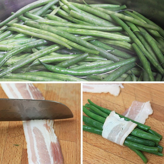 "Pretty little bundles of bacon wrapped French ""green beans"" known as Haricot verts which are longer and thinner than the typical American green beans. Of course, American green beans will work just fine here too."