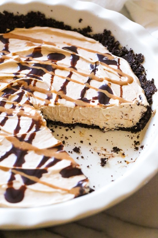 This easy No Bake Peanut Butter Pie is light and creamy – one of my favorite dessert recipes!