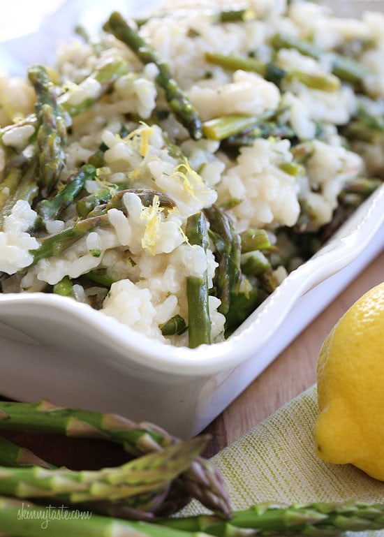 Spring asparagus risotto skinnytaste just before the last ladle i added fresh asparagus to the last five minutes of cooking time and finished it with a touch of lemon juice and lemon zest ccuart Gallery