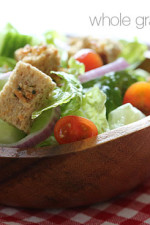 Healthier homemade croutons made with whole grain bread, Italian seasoning and shredded parmesan cheese.