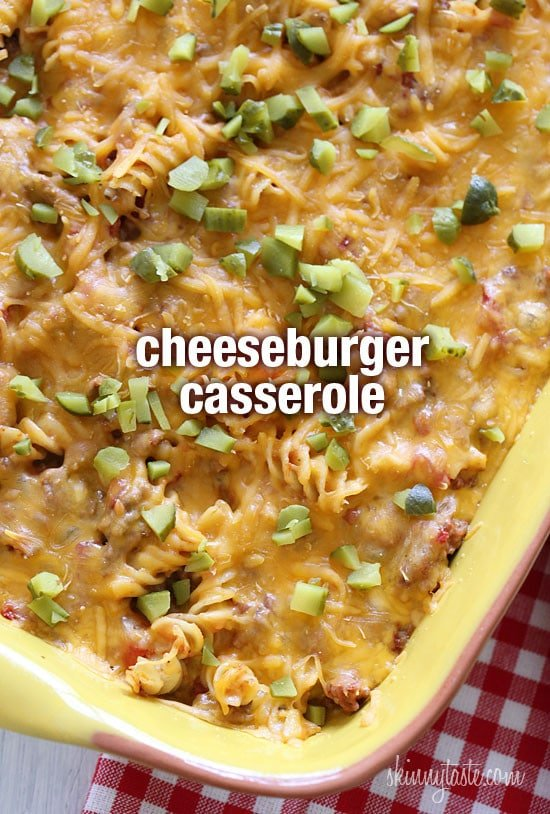 Kid-friendly and delicious! If you're a cheeseburger lover, and the thought of ground beef, tomatoes, pickles and cheese tickles your fancy, then this truly American, comforting casserole is for you!