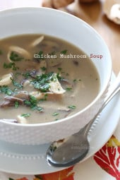 Rainy days and soup go hand in hand. If you're a mushroom lover like me, you'll love this easy savory and creamy chicken and mushroom soup. Done in 30 minutes!