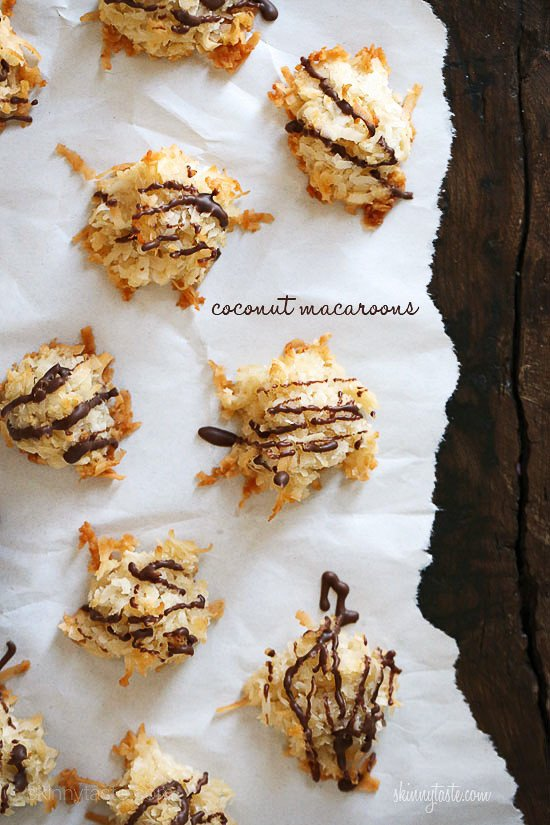 Last year I posted a recipe for plain coconut macaroons, but this year I was craving them drizzled with a little chocolate, so I reduced the sugar a little to compensate for the chocolate and drizzled some chocolate over them once they were done.