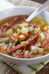 It's a cold snowy March day, perfect for this soup! Cabbage, potatoes, bell pepper and aromatics simmered on the stove with corned beef create this wonderful one pot meal. A fun twist on a Classic Irish dish!
