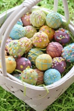 These Easter Egg cake balls are such a fun Easter dessert idea! Made lighter by using a box cake mix, egg whites and fat free Greek yogurt – no oil, no butter required!