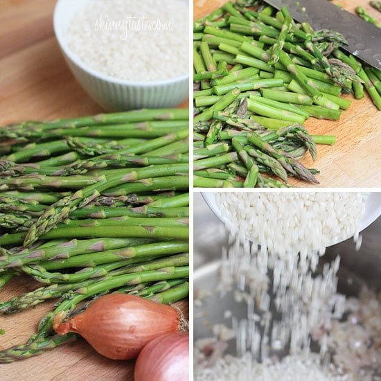 Creamy risotto, cooked with Spring asparagus, fresh herbs, Parmigiano-Reggiano and a touch of lemon. Perfect as a meatless main dish if you use vegetable broth, or wonderful as a side with grilled shrimp.