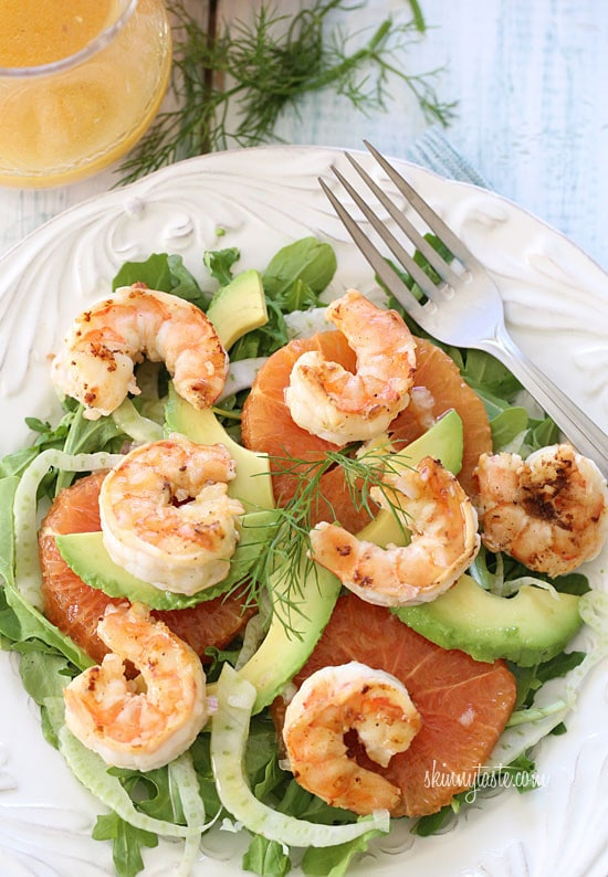 Grilled shrimp, slices of avocado, shaved fennel and oranges are served over baby kale and mixed greens then topped with a citrus vinaigrette.