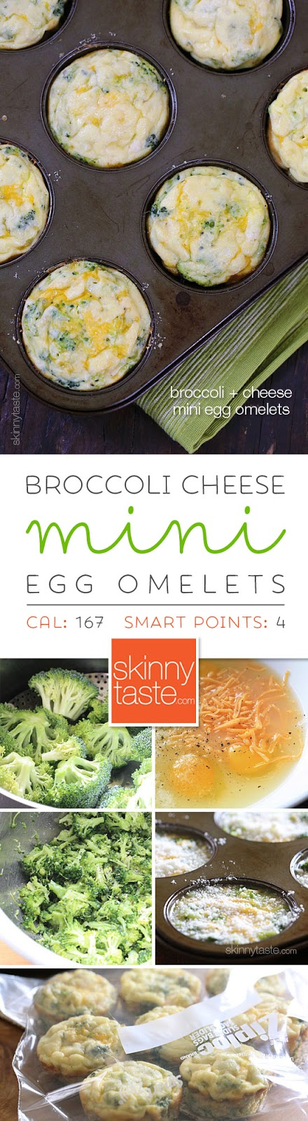 Broccoli and Cheese Mini Egg Omelets –perfect to make ahead for the week. Freezer-friendly too!