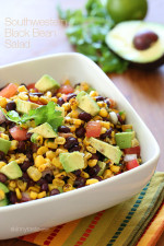 I love this Southwestern black bean salad when the weather warms, it makes enough to feed a crowd. Also makes a great side dish or appetizer if served with chips or as a topping for taco salads. You can even serve with grilled meat and fresh tortillas.
