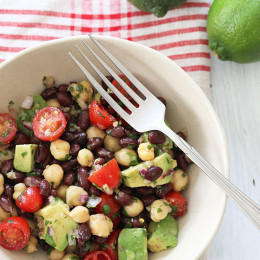 Black beans, chick peas, tomatoes, cilantro and avocado are tossed with a cumin-lime vinaigrette – I love the bright, fresh flavors of this quick and easy salad! Perfect for lunch, Meatless Mondays, or even as a side dish with grilled steak, shrimp or chicken.