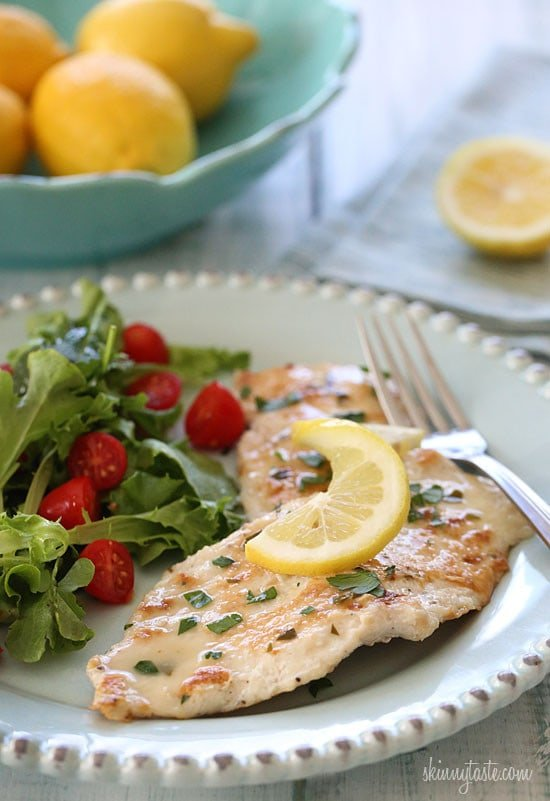 Skinless chicken cutlets, lightly coated in flour and egg, cooked in a white wine lemon sauce. Move over Olive Garden, this one's lighter and easy to make!