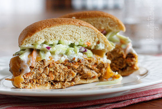 Buffalo Turkey Cheeseburger with Blue Cheese Broccoli Slaw ...
