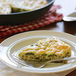 Spring asparagus, shallots and Swiss cheese is a delicious combination in this slimmed down frittata which is perfect for breakfast, lunch or dinner!