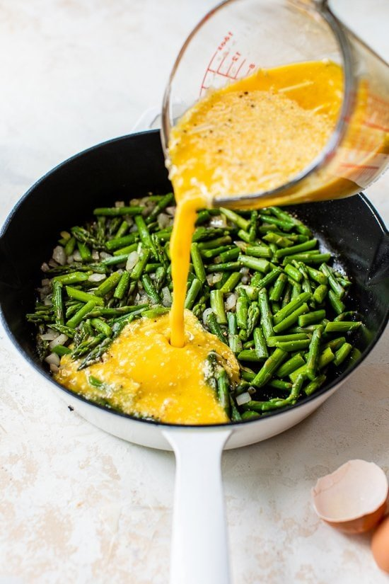 asparagus and eggs in a pan