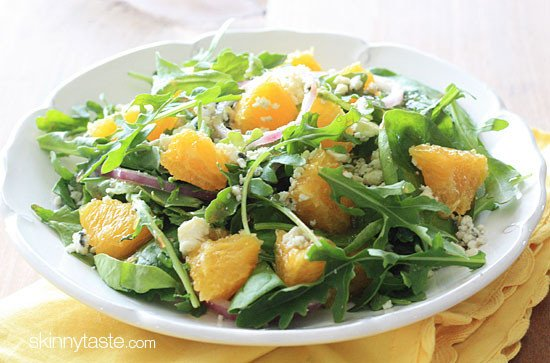Orange and Arugula Salad with Red Onion and Gorgonzola | Skinnytaste