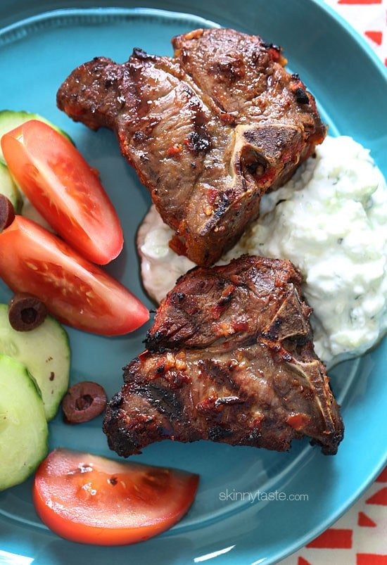 I love the Mediterranean flavors of these grilled harissa lamb loin chops marinated with fresh lemon juice, garlic, cumin and harissa.