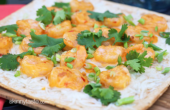 ... shrimp grilled pizza made with my Bangin' Good Shrimp recipe is so