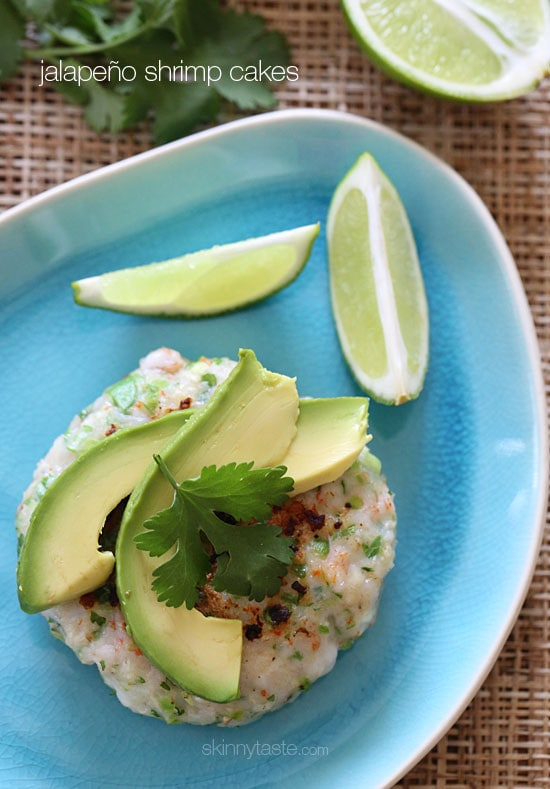 These shrimp cakes are light and delicious, made with jalapenos, scallions, and cilantro then topped with a little fresh lime juice and a few slices of avocado. Serve this over a bed of greens for a quick, light summer meal.