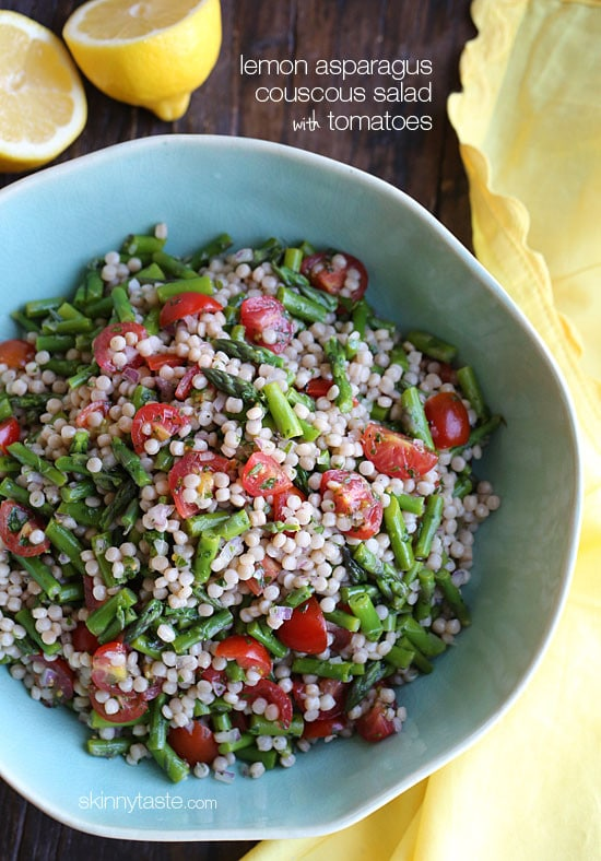 Pearl couscous (otherwise known as Isreali couscous) tossed with asparagus, tomatoes and lemon juice make a vibrant Spring pasta salad that is perfect for lunch, as a side dish, or even to make as a side dish if you are grilling for Mother's Day this weekend!
