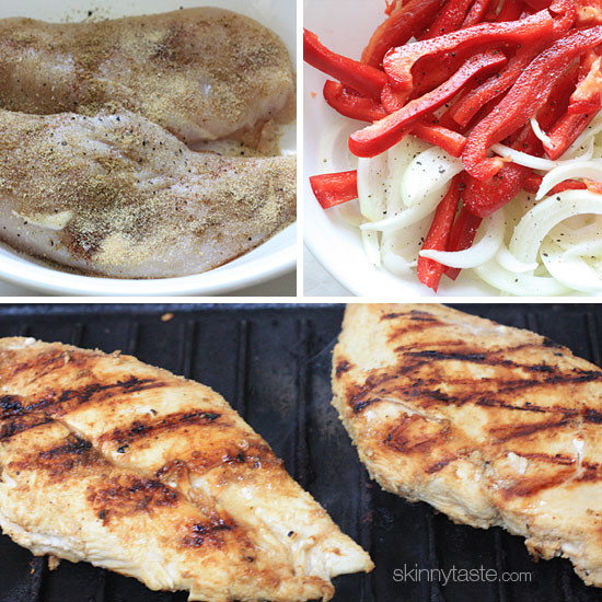 Skinny Chicken Fajitas made with lean strips of chicken breast, bell peppers and onions served sizzling hot with warm tortillas and shredded cheese. If this is your idea of delicious, you are not alone!