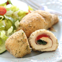 These baked stuffed chicken breasts are really simple to make, stuffed with melted cheese, roasted red peppers, prosciutto and baby spinach.
