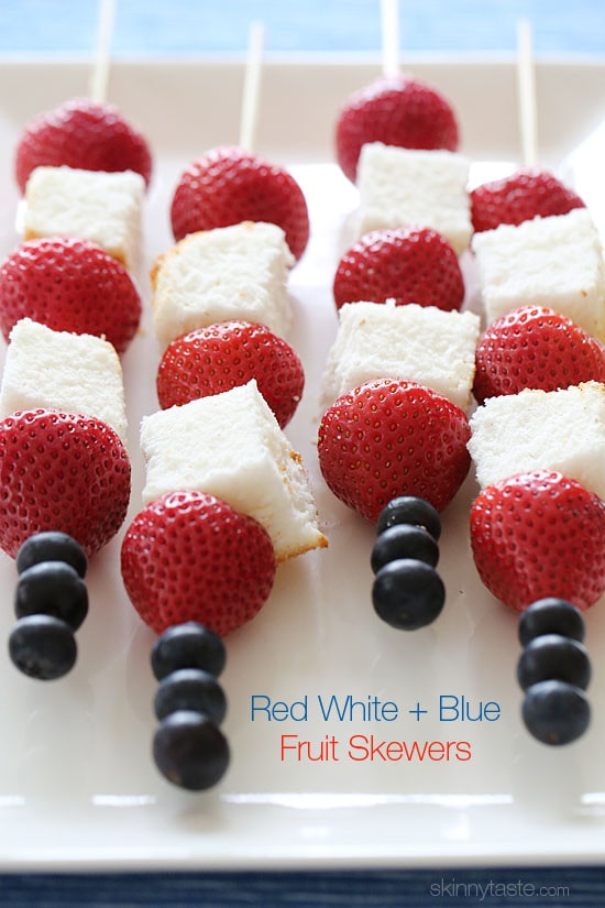Red White And Blue Fruit Skewers With Cheesecake Yogurt Dip