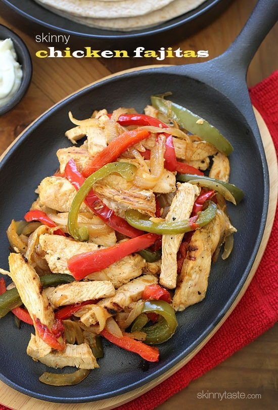 Skinny chicken fajitas recipe skinnytaste skinny chicken fajitas made with lean strips of chicken breast bell peppers and onions served forumfinder Gallery