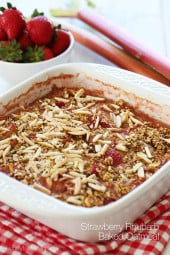 This healthy baked oatmeal with strawberries, rhubarb and slivered almonds is so good you'll almost think you are having dessert for breakfast!