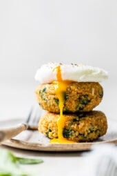 Quinoa and Spinach Patties with a poached egg on top.