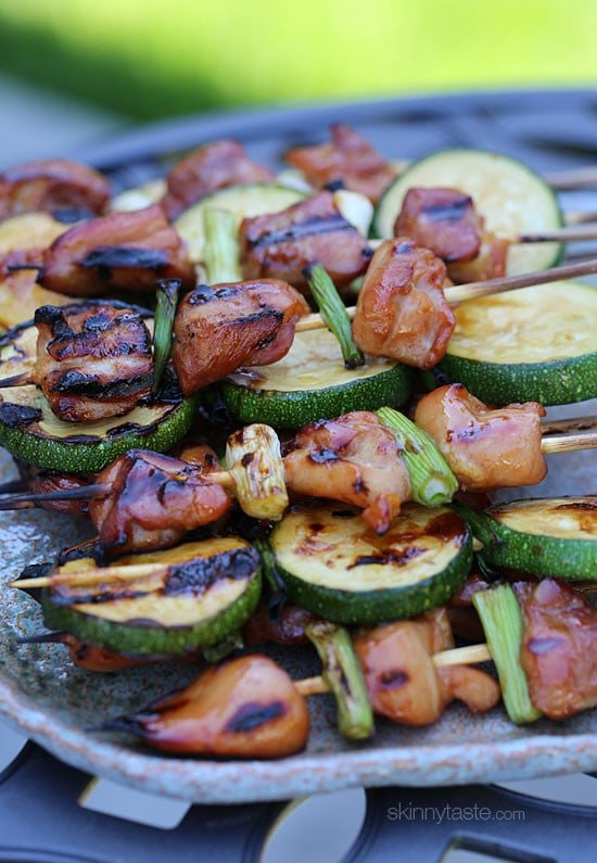 Grilled Chicken and Zucchini Yakitori – Japanese inspired grilled chicken and zucchini skewers marinated with yakitori sauce and threaded onto bamboo sticks with green onions.