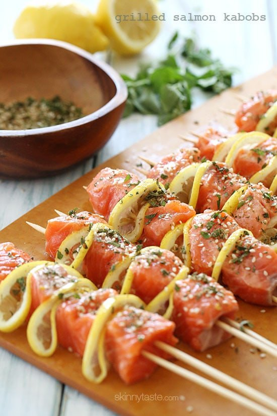 These healthy salmon and lemon kebabs are delicious and easy to make, loaded with omega 3s in every bite! Seasoned with fresh herbs, lemon, and spices and grilled to perfection.