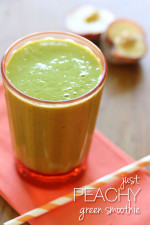 This peach and banana green smoothie with hemp seeds and baby spinach is a quick and nutritious breakfast without having to cook a thing!