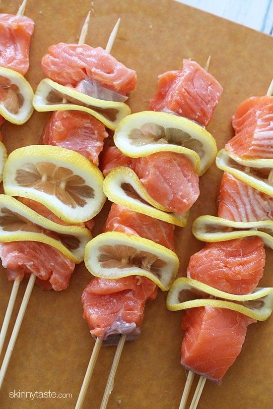 Zoes Kitchen Salmon Kabob grilled salmon kebabs | skinnytaste