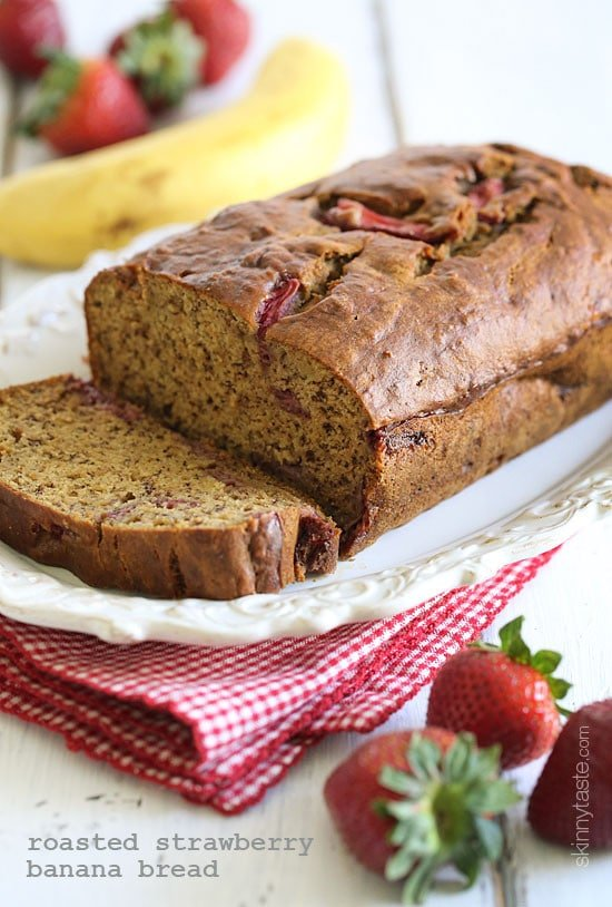 Roasted Strawberry Banana Bread is moist and delicious, made with ripe bananas and roasted strawberries, which brings out the sweetness of the berries.