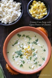A comforting creamy corn soup made with fresh sweet summer corn, low fat milk, thickened with a potato and topped with crumbled queso fresco and fresh cilantro.