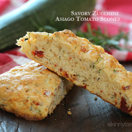 Light and biscuit-like savory scones made with a blend of whole wheat and white flour, shredded zucchini, sun dried tomato, Asiago cheese and fresh rosemary.