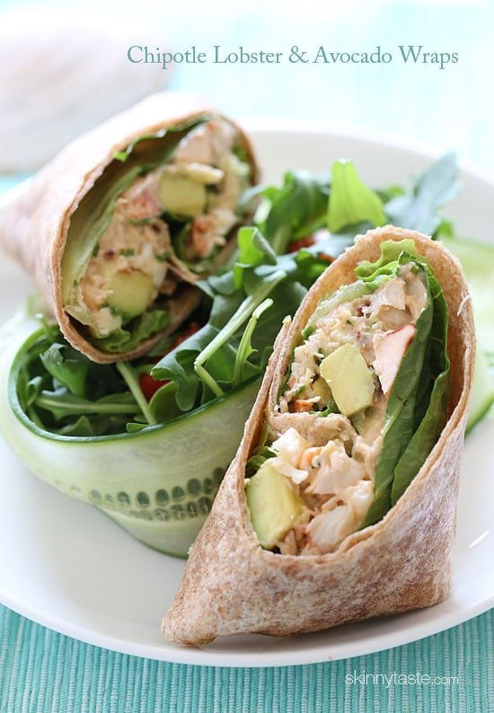 Chipotle lobster salad with avocado, scallions, cilantro and lettuce on a whole wheat wrap – fabulous!!