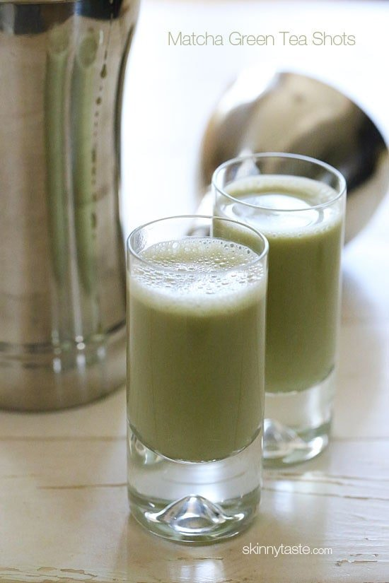 These healthy matcha green tea energy shots give you a BLAST of antioxidants, the perfect afternoon pick-me-up for a healthy Happy Hour!