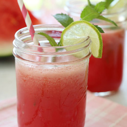 Agua Fresca – Can't think of anything more thirst quenching than this on a hot summer day – chilled watermelon puree, a squeeze of lime, over a glass of ice.