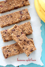 The heart-healthy power bars have all the ingredients one might have on a banana split: made with quinoa, rolled oats, dried cherries, nuts and honey.