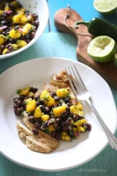 Grilled chicken breast, seasoned with cumin, spices and topped with a fresh salsa made with sweet mango, protein-rich black beans, lime and cilantro for flavor.