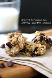 "Oats, ripe bananas and chocolate chips – these healthy, ""breakfast"" cookies are chewy and delicious, and made with just three ingredients."