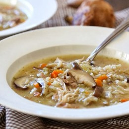 Chicken, wild rice and mushrooms are combined in this rich and hearty soup – the perfect Fall comfort food.