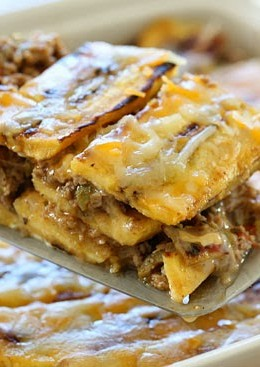 Turkey Pastelón is a latin lasagna made ofstrips of sweet plantain layered with savory picadillo and cheese. It's that sweet salty thing that makes it taste SO good!