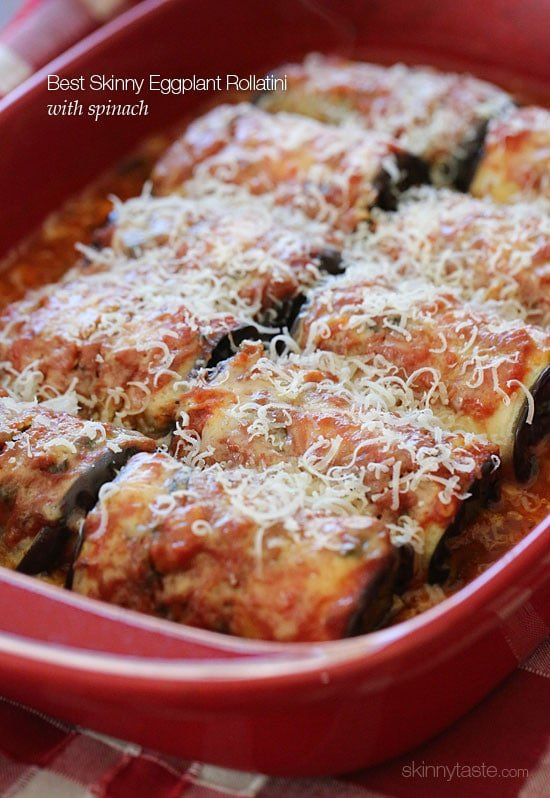 Best Skinny Eggplant Rollatini with Spinach is my favorite way to eat eggplant. It's decadent, vegetarian, Italian comfort food at it's best with less calories.