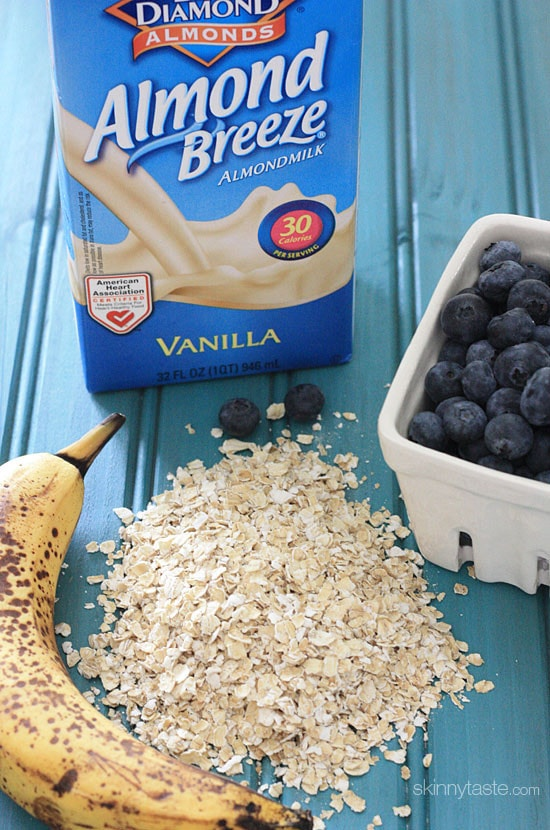 Blueberry Banana Oatmeal Smoothie – If you're looking for a heart healthy, dairy-free breakfast loaded with fiber you can eat on the run, this is it!